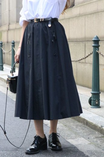 【vintage】80's side lace up cotton flare skirt