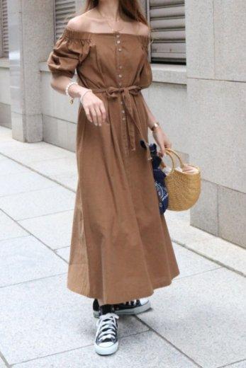 2way shoulder waist ribbon linen mix flare dress / brown