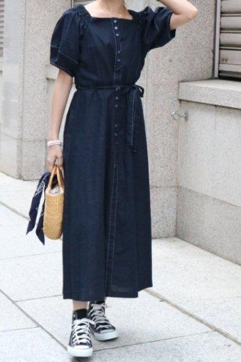 2way shoulder waist ribbon linen mix flare dress / navy