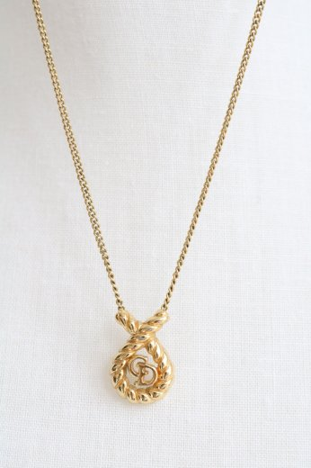 <img class='new_mark_img1' src='https://img.shop-pro.jp/img/new/icons14.gif' style='border:none;display:inline;margin:0px;padding:0px;width:auto;' />【vintage】Christian Dior / rope motif CD logo chain necklace