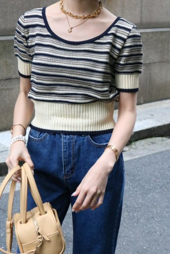 <img class='new_mark_img1' src='https://img.shop-pro.jp/img/new/icons14.gif' style='border:none;display:inline;margin:0px;padding:0px;width:auto;' />【vintage】FENDI / U neck compact summer knit tops