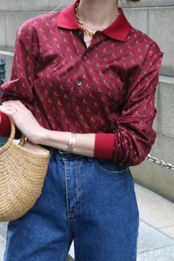 【vintage】CELINE / cut away collar logo embroidery tops