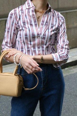 【vintage】CELINE / rope chain patterned pure cotton blouse