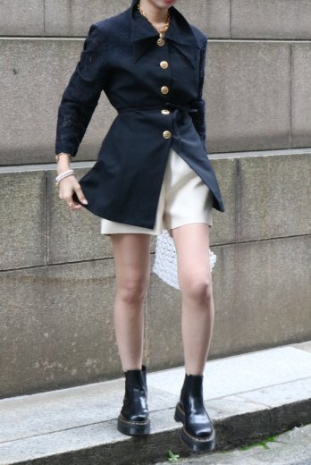 【vintage】double collar lace docking jacket