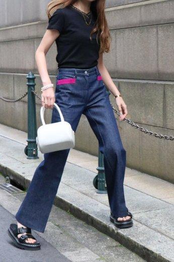 【vintage】FENDI / color felt piping center press wide denim pants / 24inch