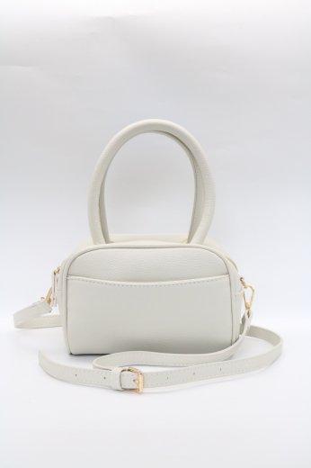 2way shrink fake leather shoulder bag / white
