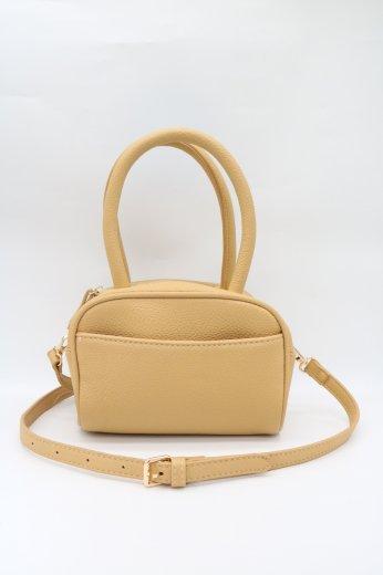 2way shrink fake leather shoulder bag / yellow beige
