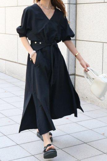 V neck dolman sleeve side ribbon nylon flare dress / black