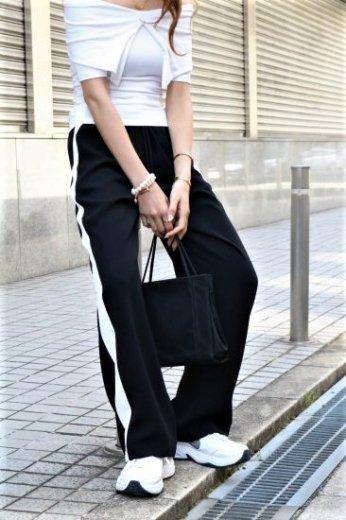 side line jersey track pants / black