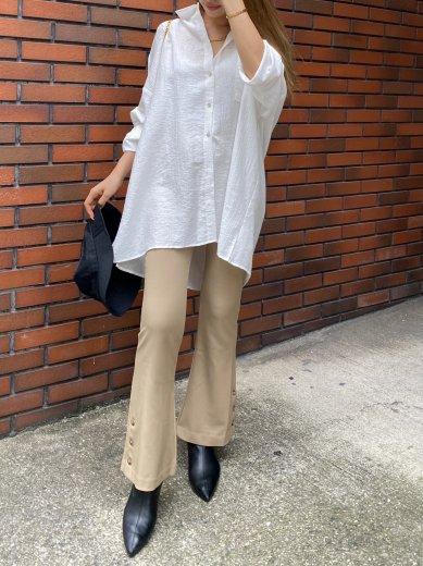 back open shell button modal over shirt / white