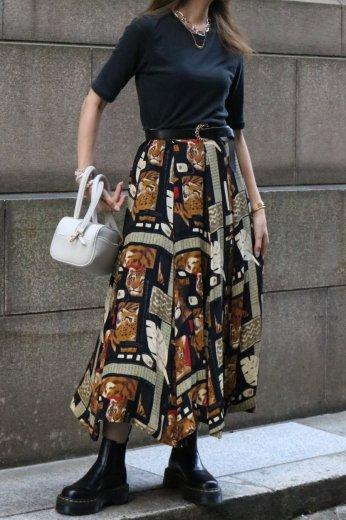 【vintage】90's tiger patterned all over long flare skirt