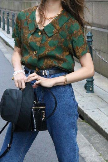 【vintage】80's chelsea collar double pocket linen blouse