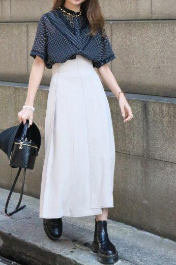 【vintage】stand collar dot pattern see-through blouse