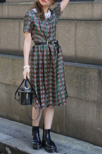 【vintage】round neck multi color hounds tooth check nylon flare dress