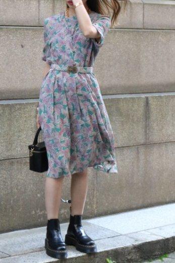 【vintage】V neck leaf patterned all over short sleeve dress