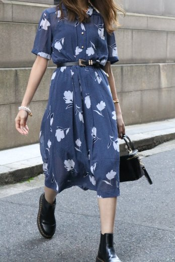 【vintage】90's short point collar floral see-through dress