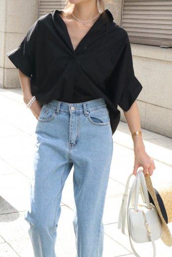 narrow collar tencel mix wide skipper shirt / black