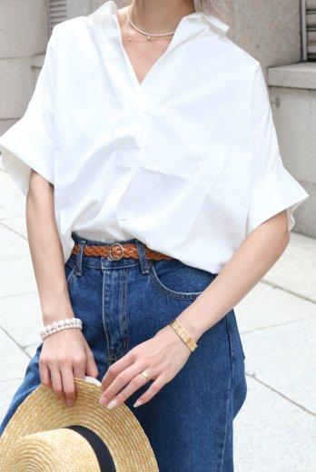 narrow collar tencel mix wide skipper shirt / white