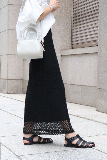 tulle lace cotton long skirt / black