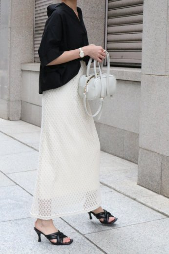 tulle lace cotton long skirt / ivory
