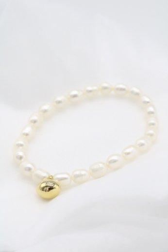 gold charm freshwater pearl bracelet / 5mm~6mm