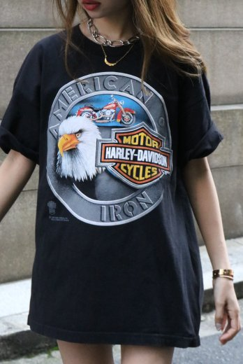 【vintage】HARLEY-DAVIDSON / 80's HD official product eagle bar & shield big silhouette tee