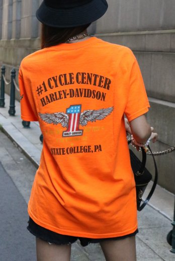 【vintage】HARLEY-DAVIDSON / Pennsylvaniaー1 CYCLE CENTER HD limited signature wing logo print tee