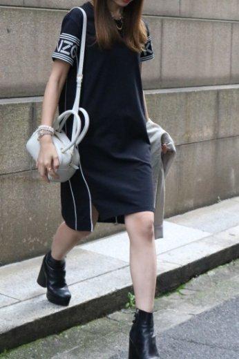 【USED】KENZO / round neck logo sleeved T shirt dress