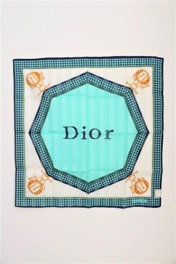 【vintage】Christian Dior / logo hounds tooth pattern handkerchief