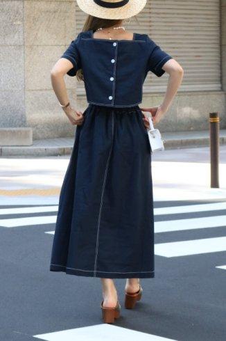 2way open linen mix flare dress / navy