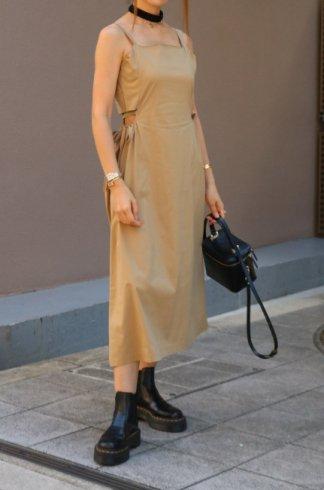 side cut out ribbon camisole dress / beige