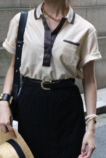 <img class='new_mark_img1' src='https://img.shop-pro.jp/img/new/icons14.gif' style='border:none;display:inline;margin:0px;padding:0px;width:auto;' />【vintage】Christian Dior / cut away collar slash pocket cotton polo shirt