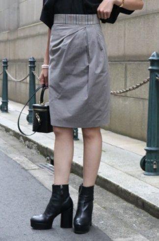 【vintage】KENZO / glitter waist band asymmetry tight skirt