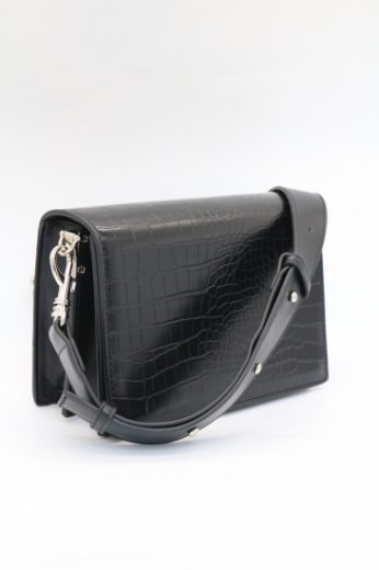 croco embossing synthetic leather flap shoulder bag