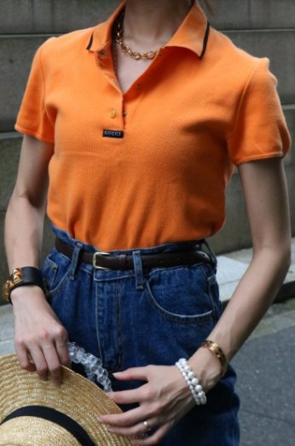 【vintage】GUCCI / cut away collar logo tag design rib polo shirt