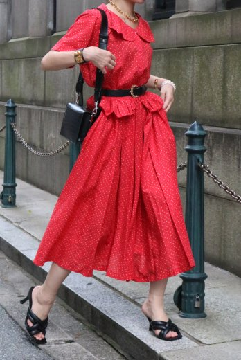 【vintage】KENZO / 90's petal collar short sleeve blouse & flare skirt linen set up