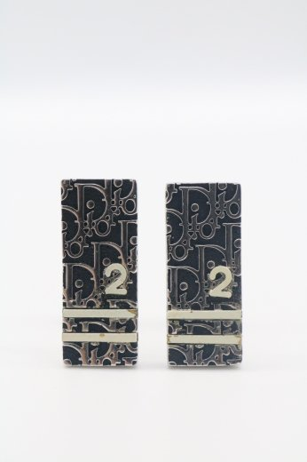 【USED】Christian Dior / trotter pattern plate earrings