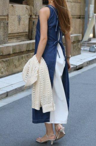 round neck sleeveless layered denim dress (inner camisole dress set) / blue