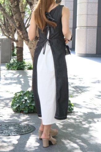 round neck sleeveless layered denim dress (inner camisole dress set) / black