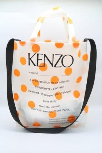 【USED】KENZO / dot pattern logo printed clear tote bag