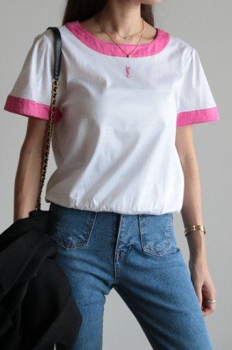 "【vintage】Yves Saint Laurent / ""YSL"" logo embroidery boat neck bicolor tops"