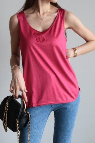 "【vintage】Christian Dior / ""DIOR"" logo motif embroidery silk tank top"