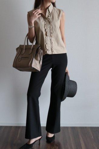 【vintage】CELINE / front frill design sleeveless blouse