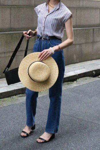 【vintage】Christian Dior / stand collar logo motif button band sleeve blouse