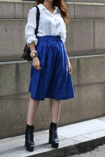 【vintage】Yves Saint Laurent / waist belt ribbon patterned all over flare skirt