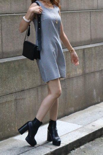 【vintage】90's square neck shepherd check sleeveless dress