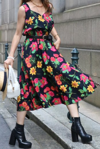 【vintage】80's back cross design floral sleeveless flare dress