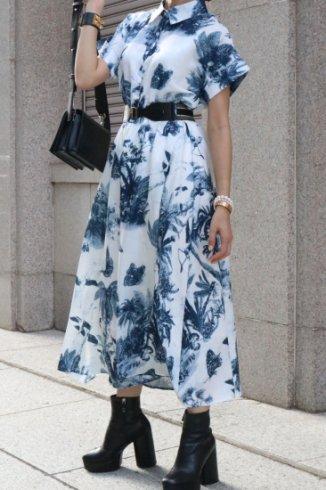 <img class='new_mark_img1' src='https://img.shop-pro.jp/img/new/icons57.gif' style='border:none;display:inline;margin:0px;padding:0px;width:auto;' />shirt collar botanical pattern flare dress ( gather belt set )