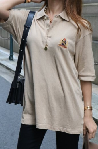 【vintage】Burberrys / logo emblem embroidery oversize polo shirt