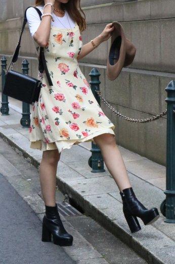【vintage】90's double strap layered design floral camisole dress